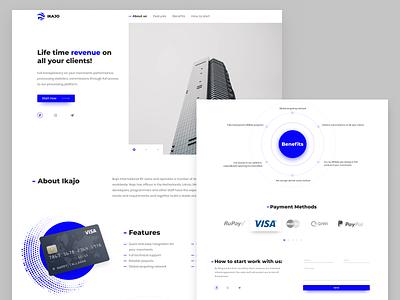 Ikajo page payment homepage benefits blue white inspiration ui minimal page landing