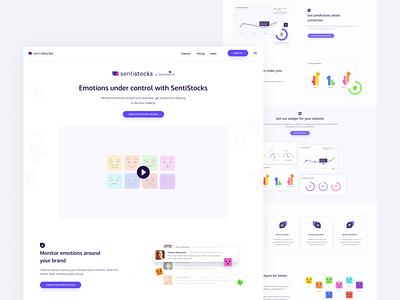 Sentistocks Landing Page product landing emotions chart video emoji emojis colors dashboard landing page ui