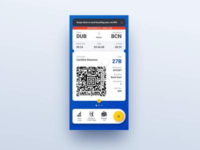 Bubble Sending Boarding Pass via NFC ui mobile blue interaction travel nfc boarding pass bubble ryanair