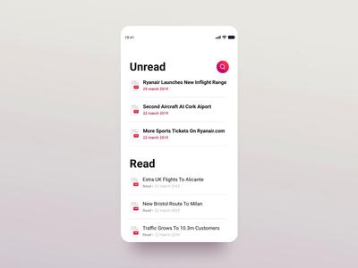 Mandatory Reads App searchbar interaction documents pdf ui design search list minimal mobile