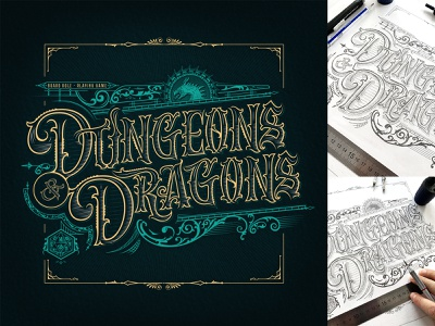 "Fan art Lettering ""Dungeons & Dragons"" print logo custom type design vector illustration typography calligraphy lettering"