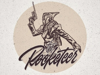 "Illustration + Lettering ""The Rocketeer"" print typography clothing t-shirt design illustration calligraphy lettering"