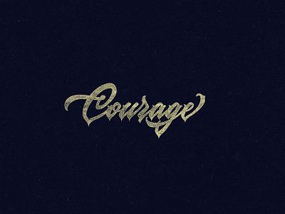 Courage - lettering logo brush brushpen custom type typography lettering calligraphy