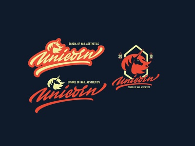 Unicorn - Logo for the school of nail aesthetics logo calligraphy brushpen illustration typography lettering type