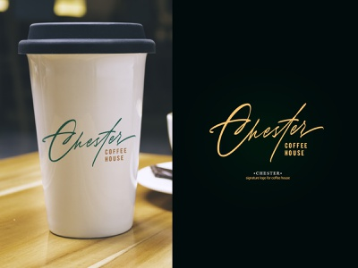 Chester Coffee House - signature logo design logotype design brand design branding calligraphy logo lettering