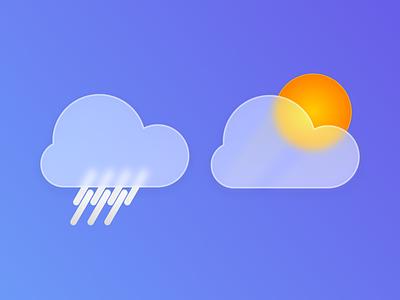 Rain / Sun Icons glow shadows shades glass blur ui vector illustration flat gradient design smooth