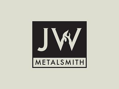 JW Metalsmith Logo fire initials black futura flame monogram logo metalsmith