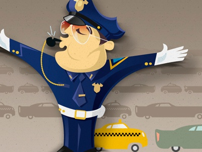 NYPD officer illustration vector cop policeman police nyc cab cars