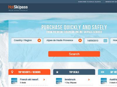 Hot Skipass ui user interface web website minimal skiing