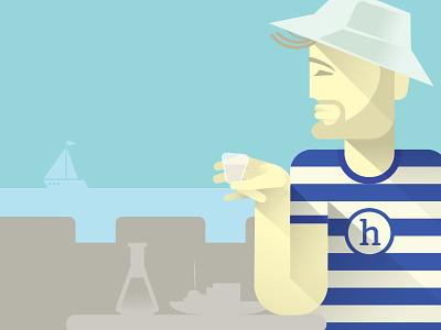 Hedonist enjoying sailing hat drinking sea illustration flat