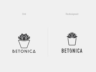 Betonica Logo Redesign pot plant clean logo