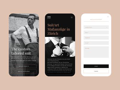 Website for Suitart switzerland web responsive stylish sexy dark black minimal typography ui swiss mobile design
