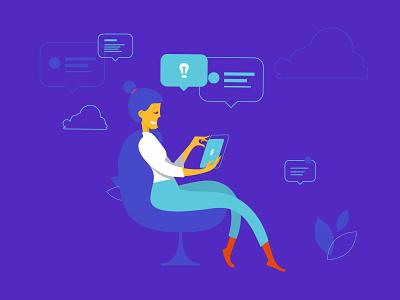 Illustrations for Siemens's blogging platform visual girl thinking device vivid minimal flat illustration