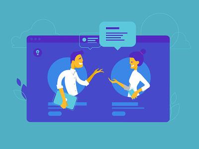 Illustrations for Siemens's blogging platform online device digital communication browser vector minimal visual flat illustration