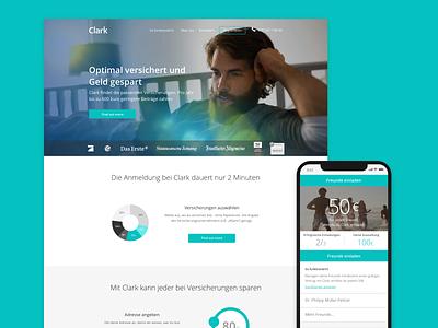 Clark - insurance app website web visual uxui ux clark startup german insurance digital mobile app