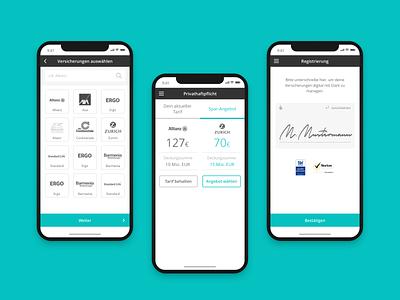 Clark - insurance app startup digital visual germany clark web application mobile design ui ux app ios responsive fintech insurance mobile app mobile