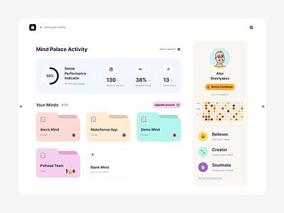 Mind Palace App / Minds flow profile statistics dashboard note editor social network wiki mind mind palace design ui website web