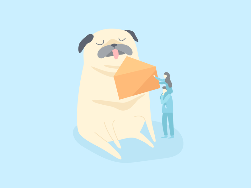 Post Office Modernization design post office letter pug vector animal story illustration