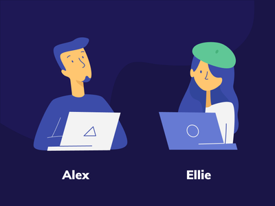 New us designer developer work vector portrait profile character person people team avatar illustration