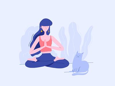 Under pressure sea pressure lotus calm cat design procreate people website meditation yoga woman character illustration