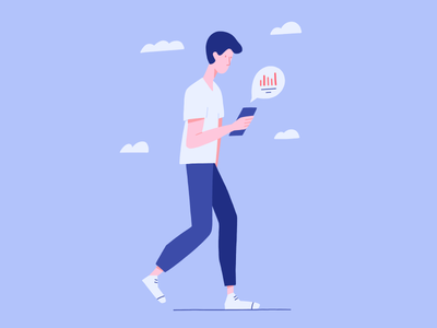 Go Mobile procreate web app onboarding statistics app mobile man people person character website illustration