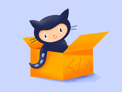 Everything is packed code package components box drawing repository github octocat cat procreate animal character story website web illustration