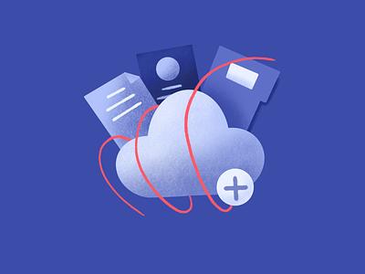 Profiles Storage feature icon segments drawing file manager box storage files upload ui procreate design features marketing cdp platform website web illustration