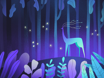 Magic forest colors brush art story book light night fantasy forest magic deer drawing animal character procreate illustration