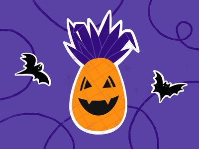 Halloween nightmare drawing design pineapple bat scary character color rebound stickermule sticker halloween art illustration