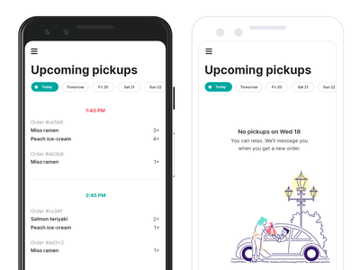 Pona Seller upcoming orders delivery app food delivery food delivery service delivery app design empty state seller uxdesign date filter filter pickups orders upcoming orders merchant seller app uxui ui ux