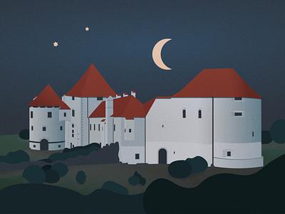 Varazdin Castle illustrator vector medieval fairytale moon night fort castle postcard illustration travel croatia