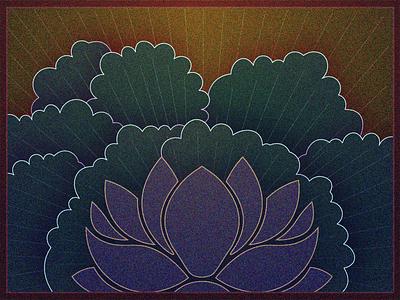 Lotus vector illustration glow spiritual nature dither flower lotus