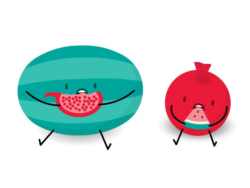 Happy Yalda vector illustration kawaii cute fruit watermelon pomegranate greetings postcard yalda