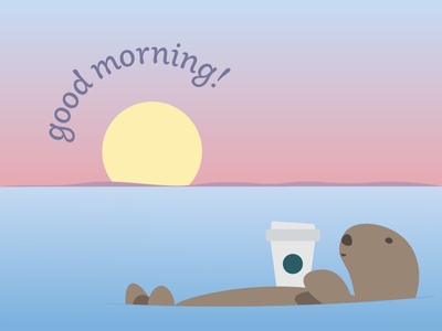 Good morning otter coffee illustration sunrise sun sea animal otter morning