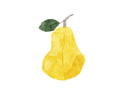 Vector paper pear grunge vector collage paper fruit pear