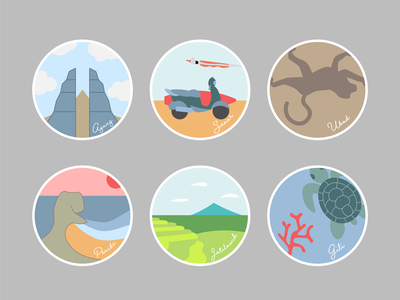 Bali Stickers bali indonesia stickers badges pins agung sanur ubud punida jatiluwih gili lombok illustration travel