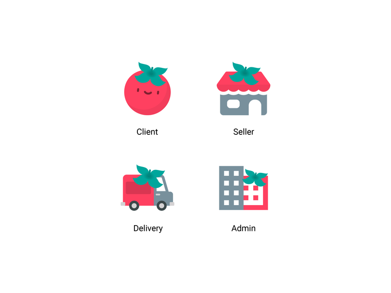 Pona icons store icon app icons vector tomato delivery truck delivery app food and drink food app delivery food