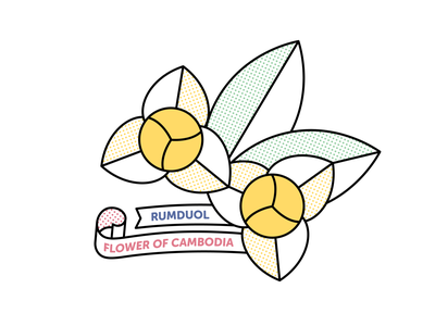 Rumduol — Flower of Cambodia ribbon vector illustration monoline halftone cambodia rumduol flower