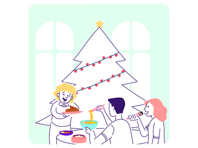 Pona Christmas card home-cooked home food dinner family christmas tree instagram card xmas card holidays christmas xmas