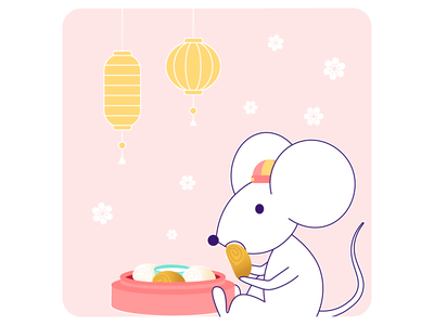 Pona Chinese New Year card: Rat instagram card mouse mantou lantern lunar new year cny chinese new year rat