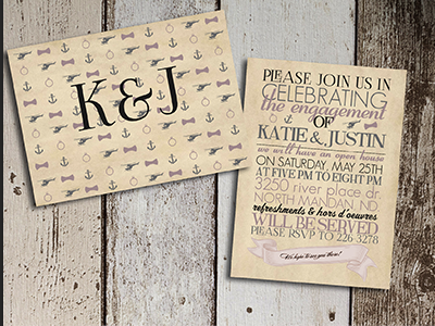 Engagement Party invites vintage scroll font sailor pilot wedding