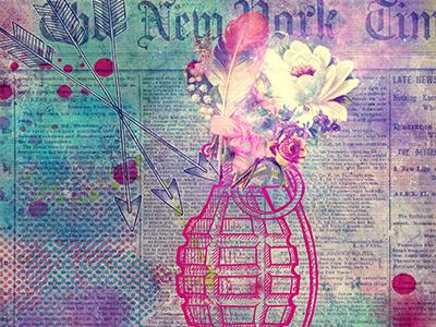 Flower Boom flowers grenade newspaper arrows vector