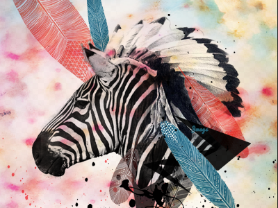 zebra chief  feathers zebra animal headdress watercolor