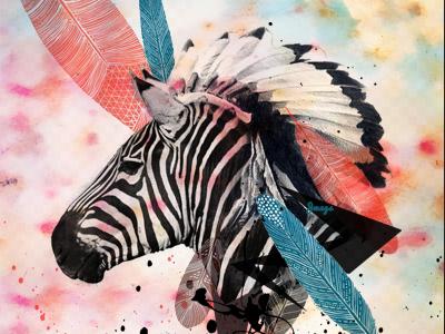 zebra chief  feathers zebra animal headdress watercolor