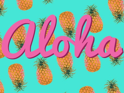 Aloha Pineapples pineapples cartoon vector font
