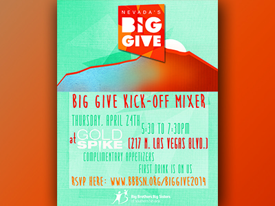 BBBSSN Big Give fundraiser kick-off party flyer non profit flyer gradient blue orange nevada