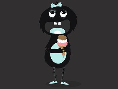 Little girl monster character cartoon illustration illustrator monster