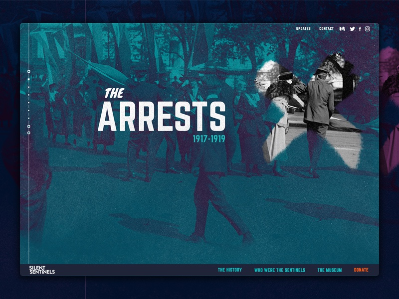 Silent Sentinels - The Arrests suffrage movement campaign site ui