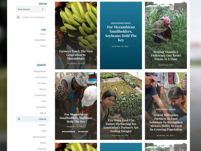 feed the future - stories! listing filters filtering nonprofit ui