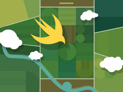 SwiftUI touchin' the sky aerial view geometric vector illustration
